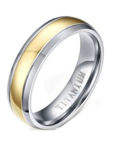 COI Titanium Gold Tone Silver Double Grooves Ring-5730