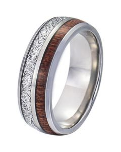 COI Titanium Meteorite and Wood Dome Court Ring-5770