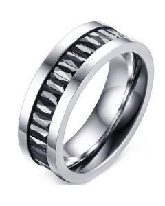 COI Titanium Ring With Black Baguette Cubic Zirconia-5771