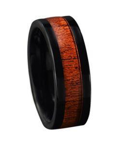 COI Black Titanium Wood Pipe Cut Flat Ring-JT5772