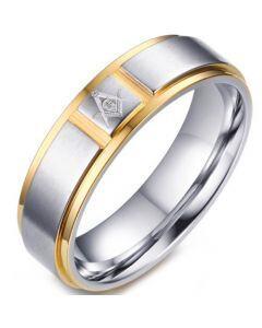 COI Titanium Gold Tone Silver Masonic Ring-5772