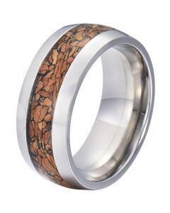 COI Titanium Wood Dome Court Ring-JT5773