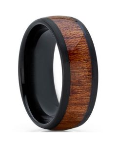 COI Black Titanium Wood Dome Court Ring-JT5774