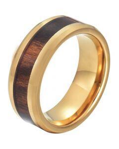 COI Gold Tone Titanium Wood Beveled Edges Ring-JT5776