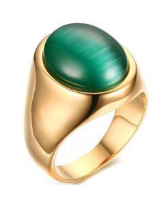 COI Gold Tone Titanium Ring With Cat Eye Stone-5778