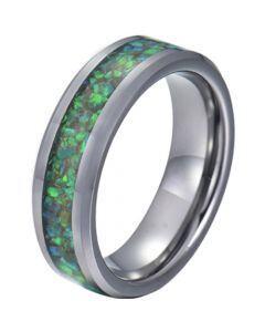 COI Titanium Crushed Opal Beveled Edges Ring-JT5780