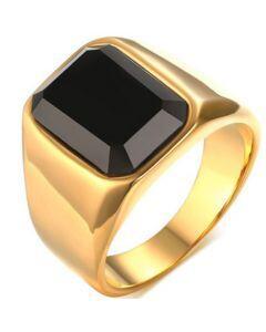COI Gold Tone Titanium Ring With Black Agate-5782