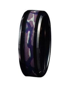 COI Black Titanium Camo Beveled Edges Ring-JT5783