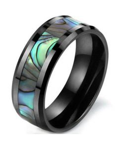 COI Black Titanium Abalone Shell Beveled Edges Ring-JT5786