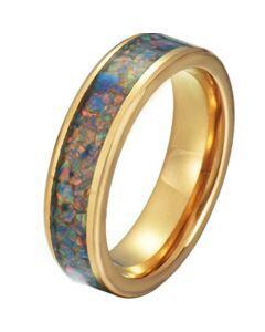 COI Gold Tone Titanium Crushed Opal Pipe Cut Flat Ring-JT5792