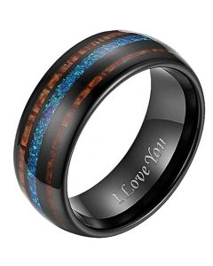 COI Black Titanium Crushed Opal and Wood Dome Court Ring-JT5794