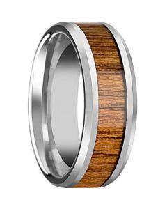 COI Titanium Wood Beveled Edges Ring-JT5795