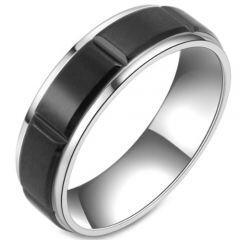 COI Titanium Black Silver Grooves Step Edges Ring-5806