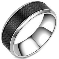 COI Titanium Black Silver Checkered Flag Ring-5807