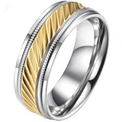 COI Titanium Gold Tone Silver Grooves Ring With Milgrain-5809