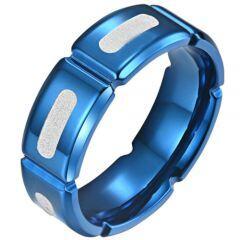 COI Titanium Blue Silver Grooves Ring-5811