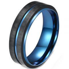 COI Titanium Blue Black Center Groove Step Edges Ring-5816