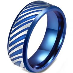 COI Titanium Blue Silver Beveled Edges Ring-5822