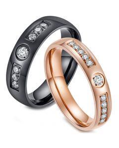 COI Titanium Black/Rose Dome Court Ring With Cubic Zirconia-5833