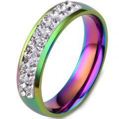 COI Titanium Rainbow Pride Ring With Cubic Zirconia-5835