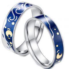 COI Titanium Blue Silver Celtic & Moon Pipe Cut Flat Ring-5838