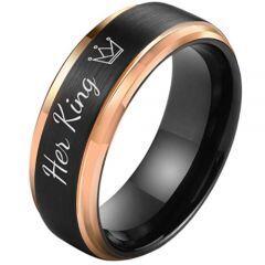 **COI Titanium Black Rose Her King Crown Step Edges Ring-5851