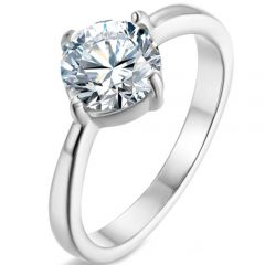COI Titanium Silver/Gold Tone/Rose Solitaire Ring With Cubic Zirconia-5865