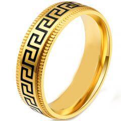 COI Titanium Black Gold Tone/Silver Greek Key Step Edges Ring-5868