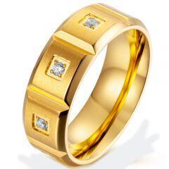 **COI Titanium Gold Tone/Silver Beveled Edges Ring With Cubic Zirconia-5870