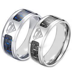 **COI Titanium Superman Ring With Black/Blue Carbon Fiber-5871
