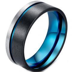 COI Titanium Black Blue Offset Grooves Pipe Cut Flat Ring-5873