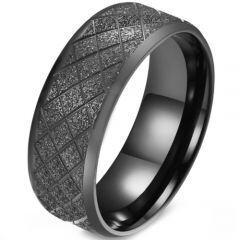 COI Titanium Black/Gold Tone/Blue/Silver Sandblasted Beveled Edges Ring-5879