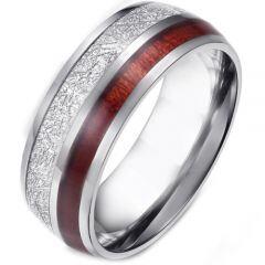 COI Titanium Silver/Gold Tone Meteorite & Wood Dome Court Ring-5881