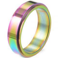 COI Titanium Rainbow Pride Step Edges Ring-5883
