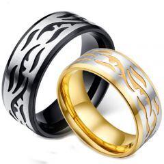 *COI Titanium Gold Tone/Black Silver Celtic Beveled Edges Ring-5885