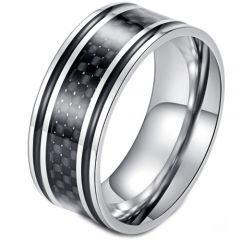 COI Titanium Black Silver Ring With Carbon Fiber/Wood-5898