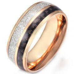 COI Titanium Rose/Silver Meteorite & Carbon Fiber Dome Court Ring-5903