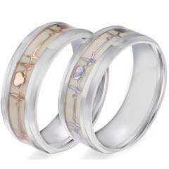 COI Titanium Gold Tone/Silver Heartbeat and Heart Luminous Ring-5906