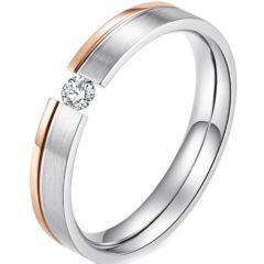 *COI Titanium Rose Silver Solitaire Ring With Cubic Zirconia-5907