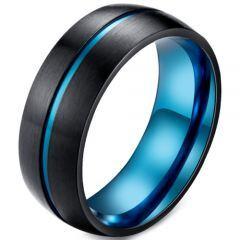 *COI Titanium Blue Black Center Groove Dome Court Ring-5921