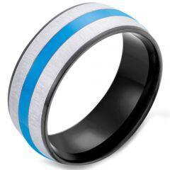 *COI Titanium Black Blue Dome Court Ring-5922