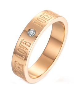 *COI Rose Titanium Forever Love Pipe Cut Flat Ring With Cubic Zirconia-5956