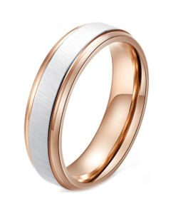 *COI Titanium Rose Silver Step Edges Ring-5960