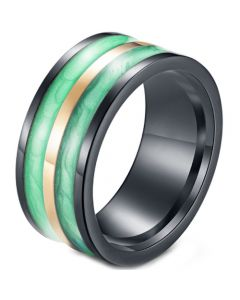 *COI Titanium Black Green Yellow Resin Ring-5964