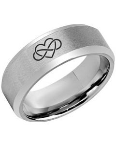 **COI Titanium Infinity Heart Beveled Edges Ring-5973