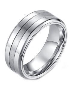 *COI Titanium Black/Silver Double Grooves Beveled Edges Ring-5986