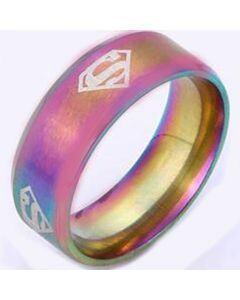 *COI Titanium Rainbow Pride Superman Dome Court Ring-6001