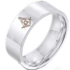 *COI Titanium Masonic Pipe Cut Flat Ring-6025