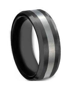 COI Titanium Black Silver Center Line Beveled Edges Ring-624CC