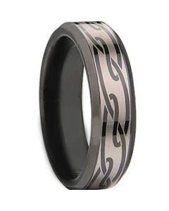 COI Black Titanium Celtic Beveled Edges Ring - JT1534AA